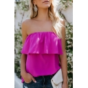 Womens Summer Sexy Plain Sleeveless Ruffle Embellished Bandeau Chiffon Tube Top
