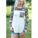 Womens White Stylish Camouflage Panel Long Sleeve Sequins Embellished Leisure T-Shirt
