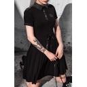 Girls Gothic Plain Black Lapel Collar Pentagram Print Button Down Drawstring Waist Mini A-Line Dress