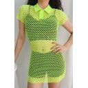 Sexy Plain Fluorescent Green Lapel Collar Button Placket Short Sleeve Mini Fitted Fishnet Party Dress