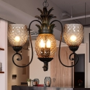 Frosted Prismatic Glass Black Hanging Chandelier Pineapple 5/7 Lights Classic Pendant Lamp for Dining Room