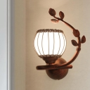 Opal Glass Dark Wood Sconce Light Fixture Globe 1-Light Rustic Wall Mounted Lighting for Bedroom, Right/Left