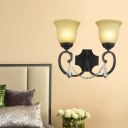 Amber Glass Black Sconce Light Fixture Bell 2-Light Rustic Wall Mounted Lighting for Corridor