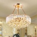 Dome Semi Flush Ceiling Light Minimalist Crystal 6-Light Dining Room Flush Mounted Ceiling Light in Gold