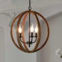 Spherical Shade Chandelier Light Retro Stylish Wood 3 Lights Brown Suspension Lamp for Living Room
