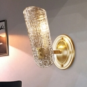 Clear Prism Crystal Shield Sconce Light Minimalist 1/2 Light Wall Light Fixture in Brass