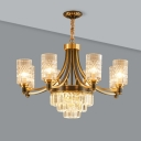 Cylinder Hanging Lamp Kit Postmodern Textured Crystal 6/8 Heads Gold Chandelier Light Fixture