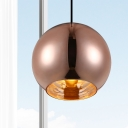 1 Light Pendant Ceiling Light Modern Silver/Copper Hanging Lamp Kit with Globe Mirror Glass Shade, 6