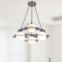 Modern Ball Hanging Light with Clear Glass Accents Opal Glass 4 Lights Chandelier Lamp for Living Room