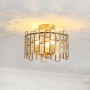 Drum Ceiling Light Fixture Modern Metal 3 Heads Ceiling Mounted Fixture with Crystal Block in Brass