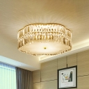 Faceted Crystal Flush Mount Fixture with Flower Shade Classic 4/5/6 Heads 15