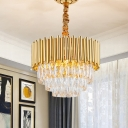 Golden Layered Hanging Chandelier with Crystal Prism Modernist 6/10/12 Bulbs Pendant Light Fixture in Gold Finish