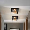 Industrial Squared Ceiling Lamp with Metal Frame Black 2 Lights Corridor Flush Mount Light