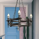 Black 3 Lights Ceiling Lamp Country Style Metal Candle Chandelier Lighting for Dining Room