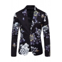 Mens Stylish Floral Butterfly Printed Long Sleeve Single Button Slim Fitted Blazer Coat