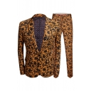 Mens Leisure Allover Floral Pattern Long Sleeve Single Button Blazer Coat with Pants Yellow Two Pieces Suit