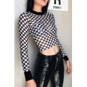 Stylish Women's Long Sleeve Mock Neck Checkered Print Black Mesh Fitted Crop T-Shirt