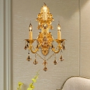 3 Heads Sconce Light Traditional Candle Metal Wall Mounted Light with Diamond Shape Crystal Decoration