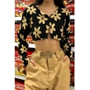 Flared Cool Women's Long Sleeve V-Neck Floral Print Button Down Crop Top in Black
