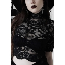 Hot Dark Goth Short Sleeve Mock Neck See Through Hollow Out Black Lace Slim Crop T-Shirt for Ladies