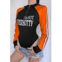 Sport Cool Contrast Sleeve Hooded Half Zip Letter I'M NOT YOUR HOTTY Print Slim Black Bodysuit for Girls