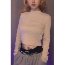 Elegant Apricot Girls' Long Sleeve Mock Neck Fitted Knit Crop T Shirt