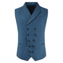 Mens Simple Peak Collar Double Breasted Slim Fit Dark Blue Plain Suit Waistcoat