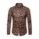 Mens Classic Leopard Digital Print Long Sleeve Single Breasted Slim Fitted Nightclub Shirt