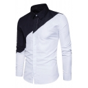 Mens Stylish Black and White Colorblocked Panel Long Sleeve Single Breasted Fitted Simple Shirt