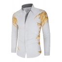 New Trendy Hot Stamping Print Long Sleeves Single Breasted Slim Fitted Retro Shirt