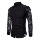 New Arrival Whole Colored Lace Paneled Long Sleeve Button Up Nightclub Shirt