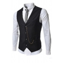 Mens Simple Plain Sleeveless Button Down Chain Decoration Business Blazer Waistcoat