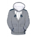 Comic Anime Cosplay Costume 3D Pattern Long Sleeve Loose Hoodie with Pocket