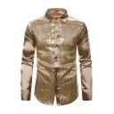 Hot Popular Plain Metallic Sequins Panel Long Sleeve Single Breasted Slim Fit Nightclub Shirt