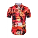 Hawaii Style Floral and Tree Print Short Sleeve Button Down Slim Fit Holiday Shirt