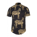 Mens Stylish Zebra Printed Short Sleeve Button Front Black and Yellow Leisure Shirt