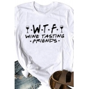 Unique WTF WINE TASTING FRIENDS Print Curved Short Sleeve Crewneck Summer Tee