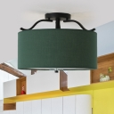 Fabric Green Semi Flush Light 16