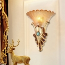 Frosted Glass Gold Sconce Light Flower Single Head Colonial Flush Mount Wall Light for Bedroom, 10