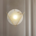 Marble Gold Sconce Light Fixture Round LED Colonial Flush Mount Wall Light for Bedroom