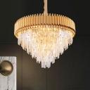 Tapered Bedroom Chandelier Lamp Crystal 9/12-Light Modernist Drop Pendant in Gold