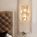 Clear Crystal Half Circle Wall Lighting Modern 4 Lights Indoor Sconce Light Fixture