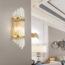 Classical Linear Sconce Light 2 Bulbs Crystal Wall Mounted Lighting in Gold for Living Room