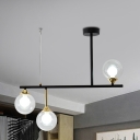 Black Sphere Island Lamp Contemporary 6 Heads Clear Glass Hanging Ceiling Light For Living Room