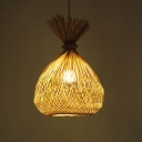 Asian Style Weave Pendant Lamp with Tapered Shade 1 Light Hanging Ceiling Light in Wood for Restaurant