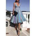 Blue Fancy Women's Sleevelss Deep V-Neck Stripe Print Pleated Midi A-Line Tank Dress