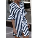 Female Street Casual Short Sleeve Band Collar Button Down Stripe Print Ruffled Trim Slit Front Short Sheath Shirt Dress in Blue