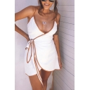 Hot Ladies' Sleeveless Surplice Neck Contrast Stitch Bow Tie Side Asymmetric Fit Wrap Mini Cami Dress in White