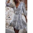 White Fashion Ladies' Blouson Sleeve V-Neck Snake Print Button Down Mini A-Line Dress