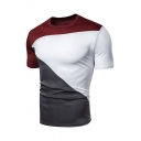 Mens Simple Contrast Splicing Short Sleeves Round Neck Leisure T-Shirt